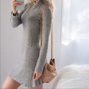 MONO B Soft Hacci Mock Neck Dress